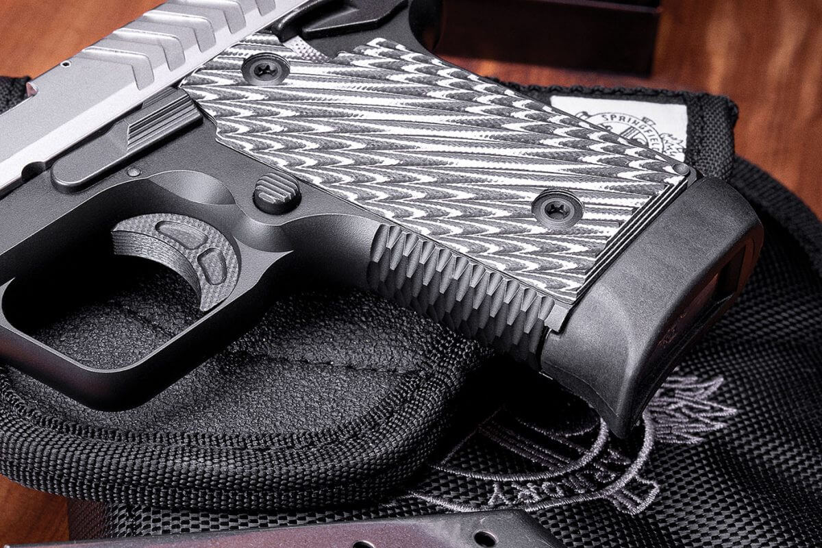 Octo-Grip and G10 grip panels on the Springfield 380 ACP pistol
