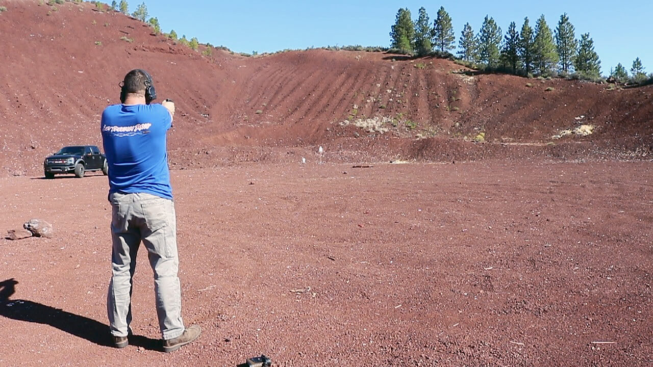 Long distance shooting with a .380 ACP pistol