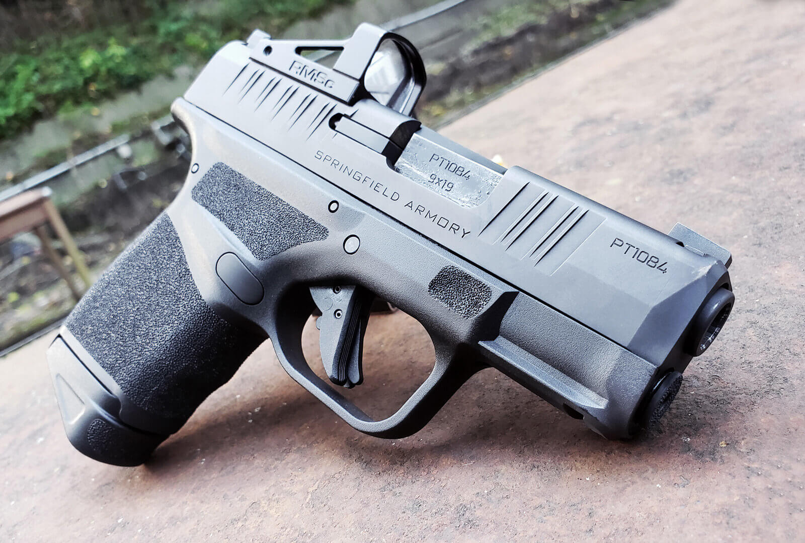 New Springfield Armory Hellcat side view on the range