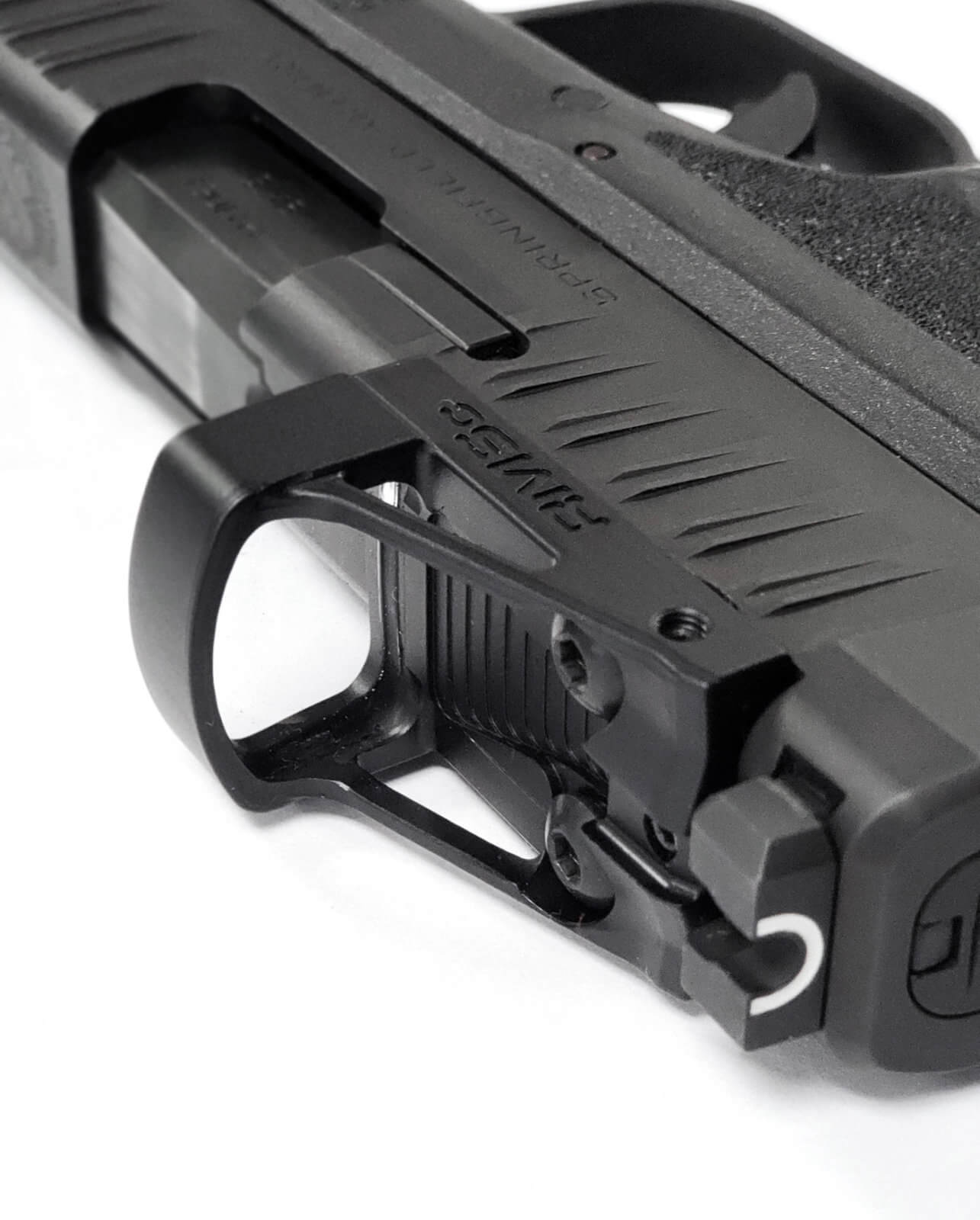 Angle view of the Shield red dot sight on a Springfield Armory pistol