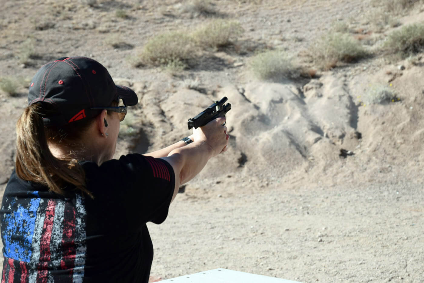 Recoil of handgun during a pistol competition