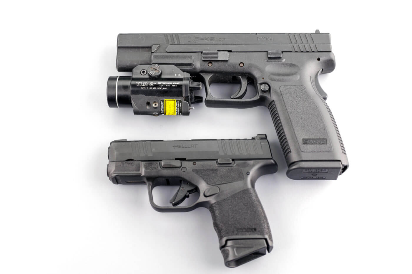Compared to a full-size XD service pistol, the Hellcat is noticeably more compact