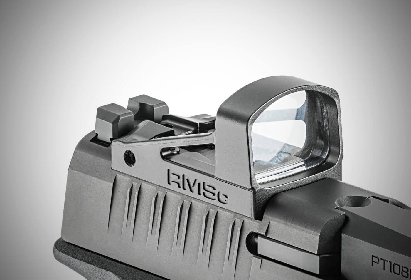 A Shield RMSc mounted on a Hellcat handgun