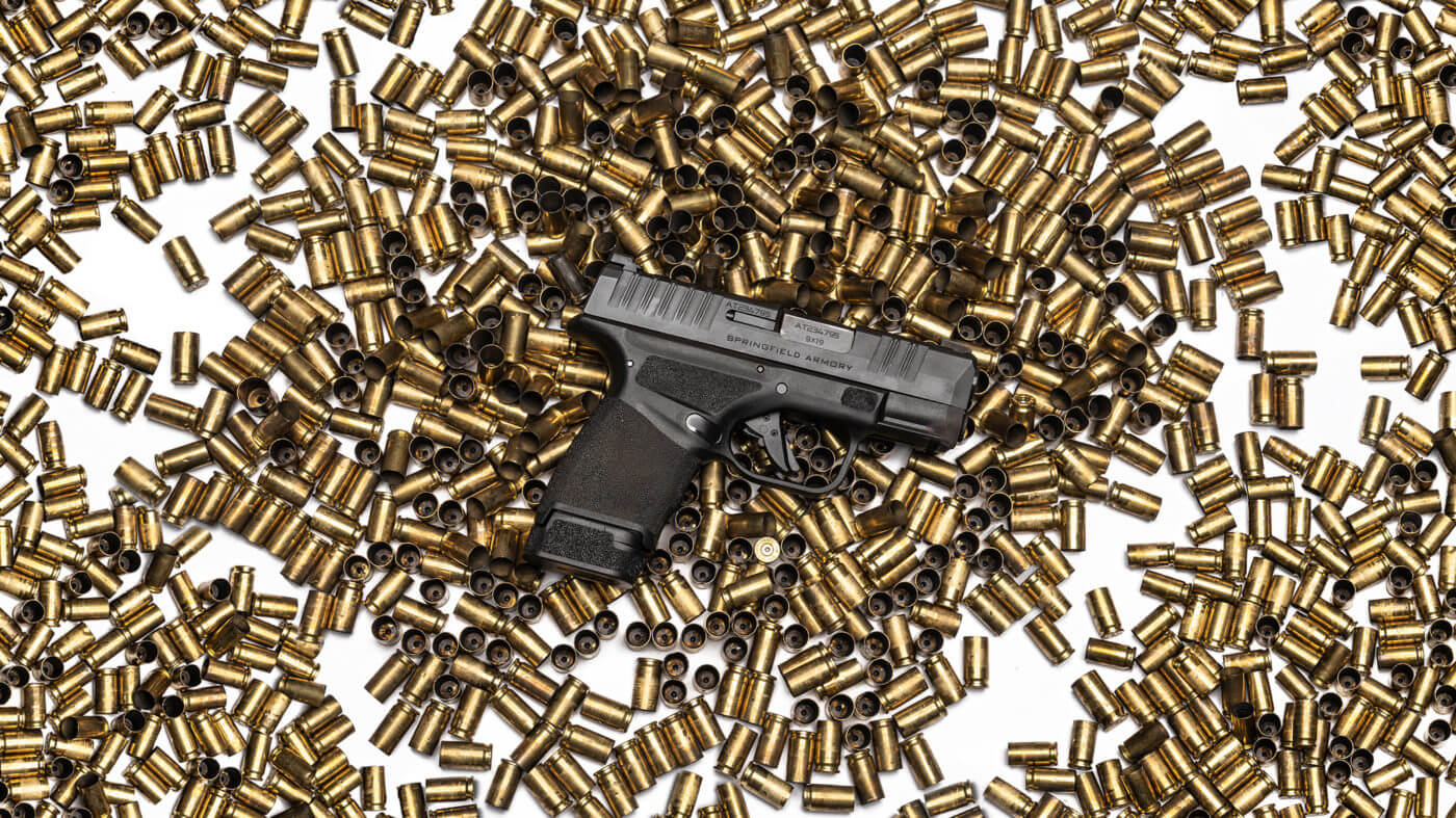 Springfield Hellcat and 10,000 rounds of 9mm cases