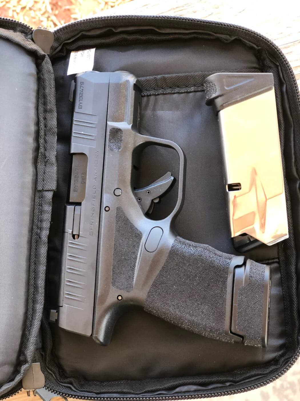 Hellcat pistol in a soft carry case