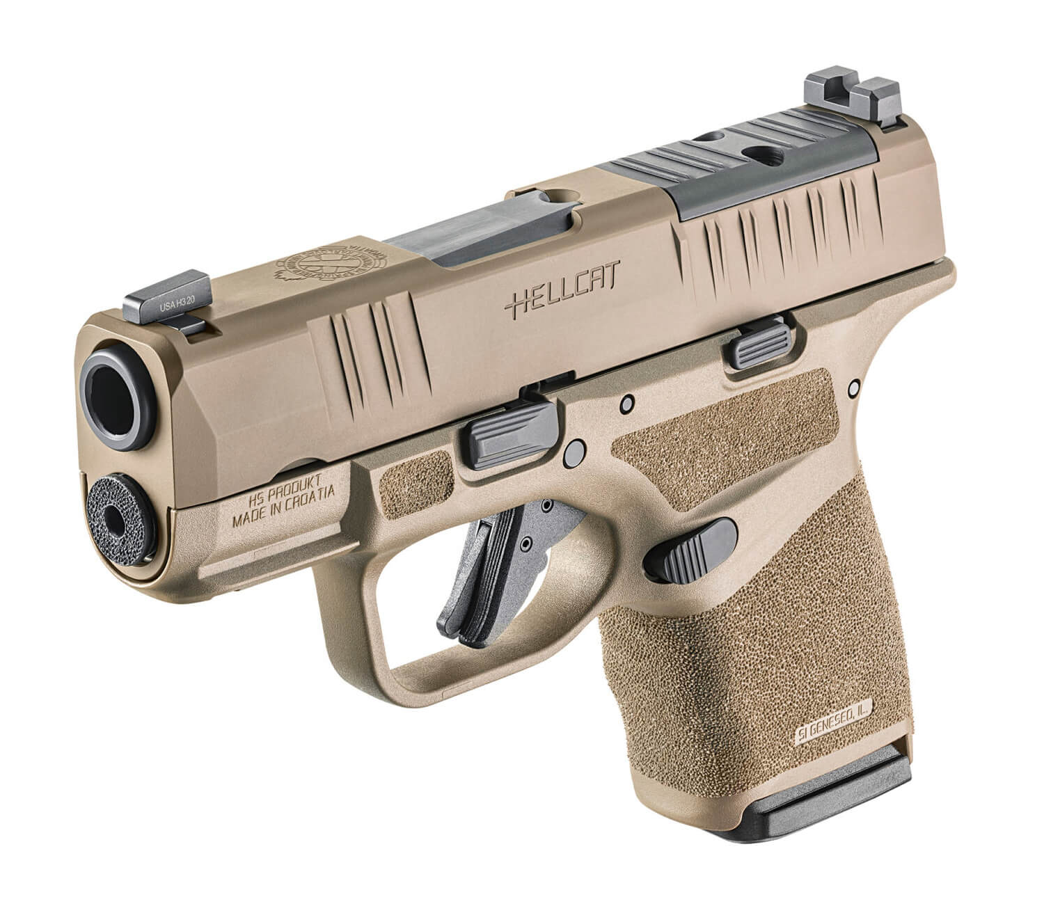 A forward angle view of the Hellcat pistol in FDE