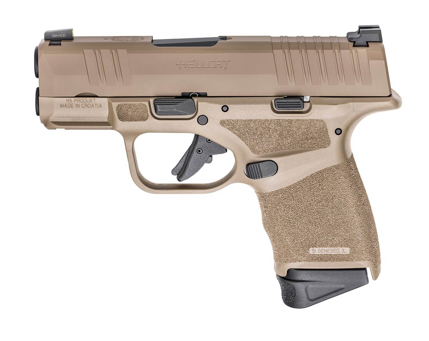 Left side image of the Springfield Hellcat with a FDE finish