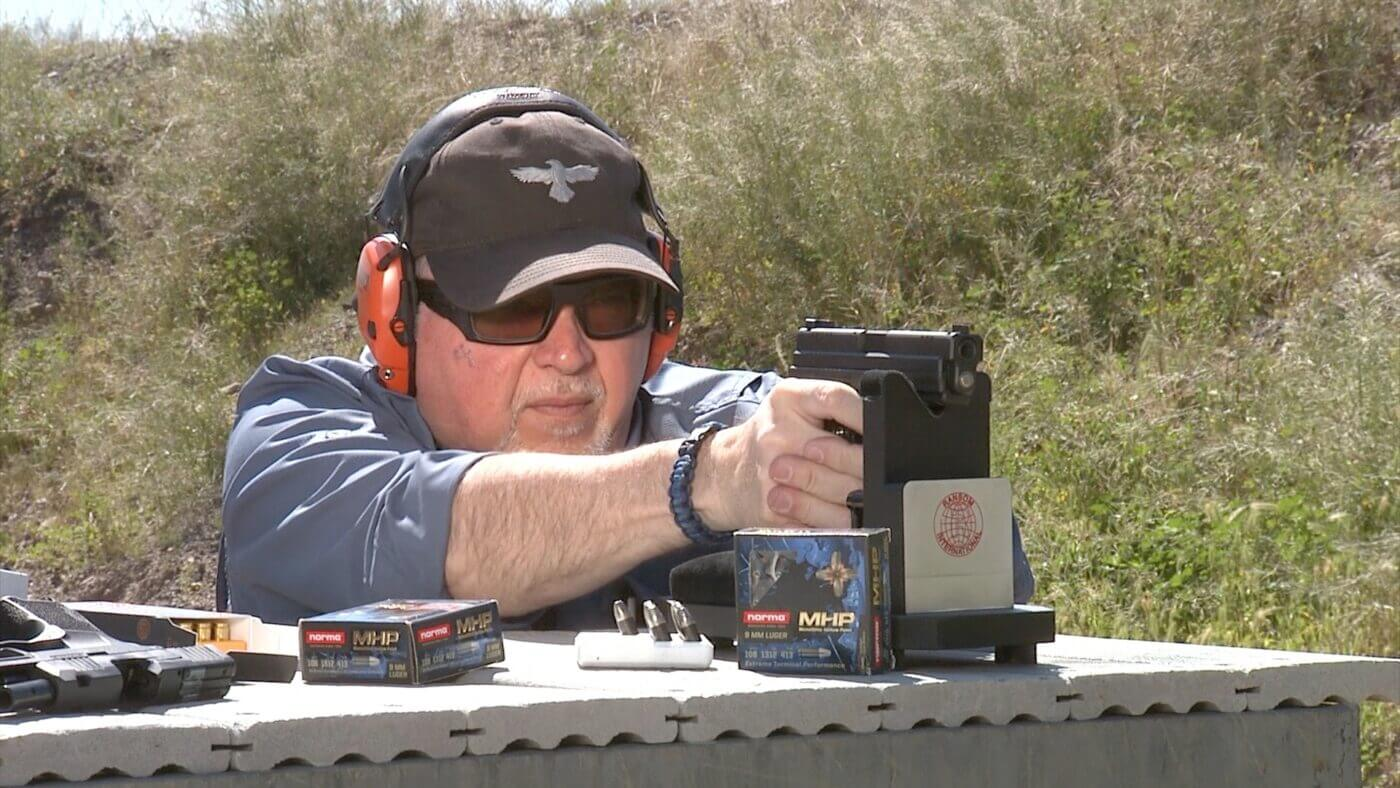 Yamil Sued testing the Norma 9mm ammo from a Springfield XD handgun