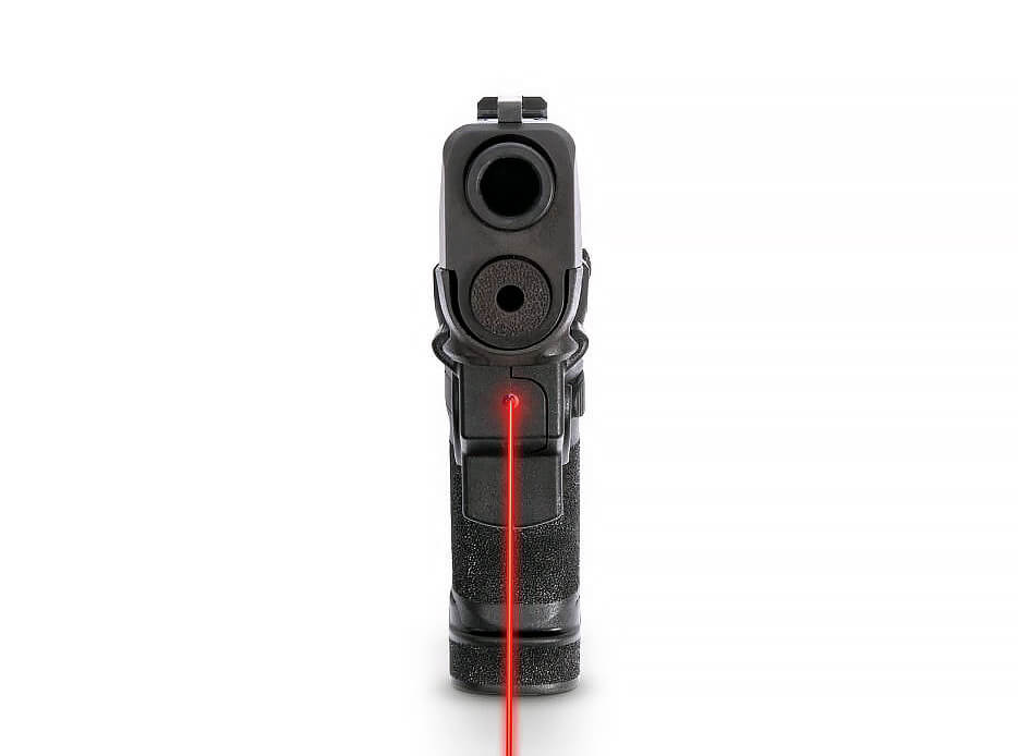 Front view of the red laser activation