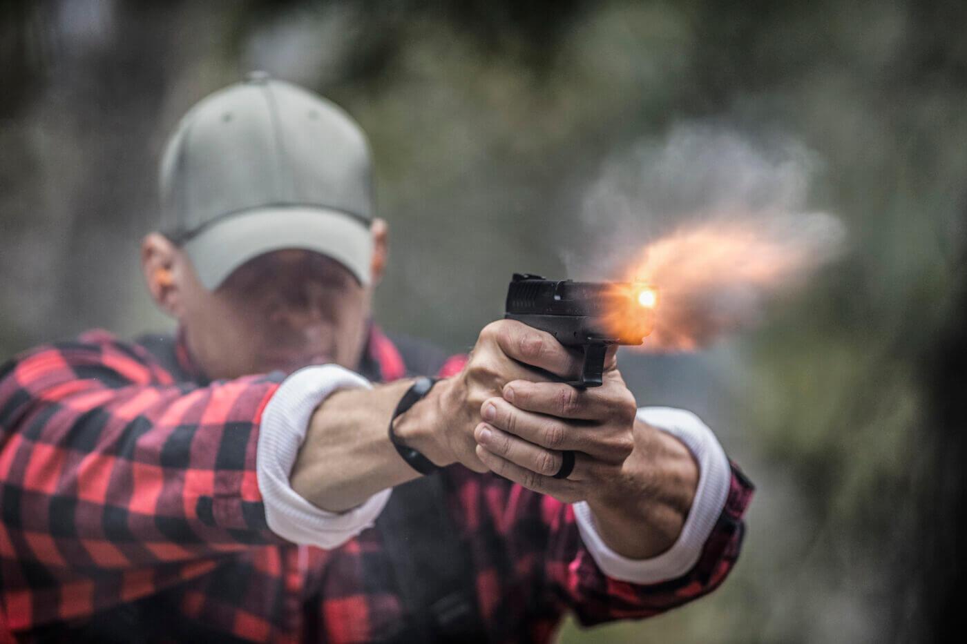 Muzzle flash from 10mm ammunition