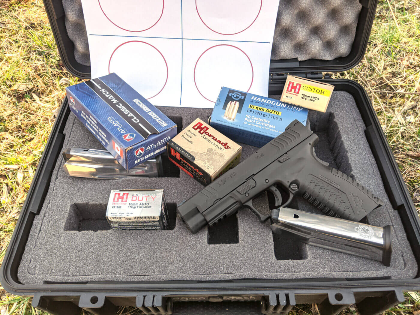Setting up to test 10mm ammo with the Springfield XD-M pistol