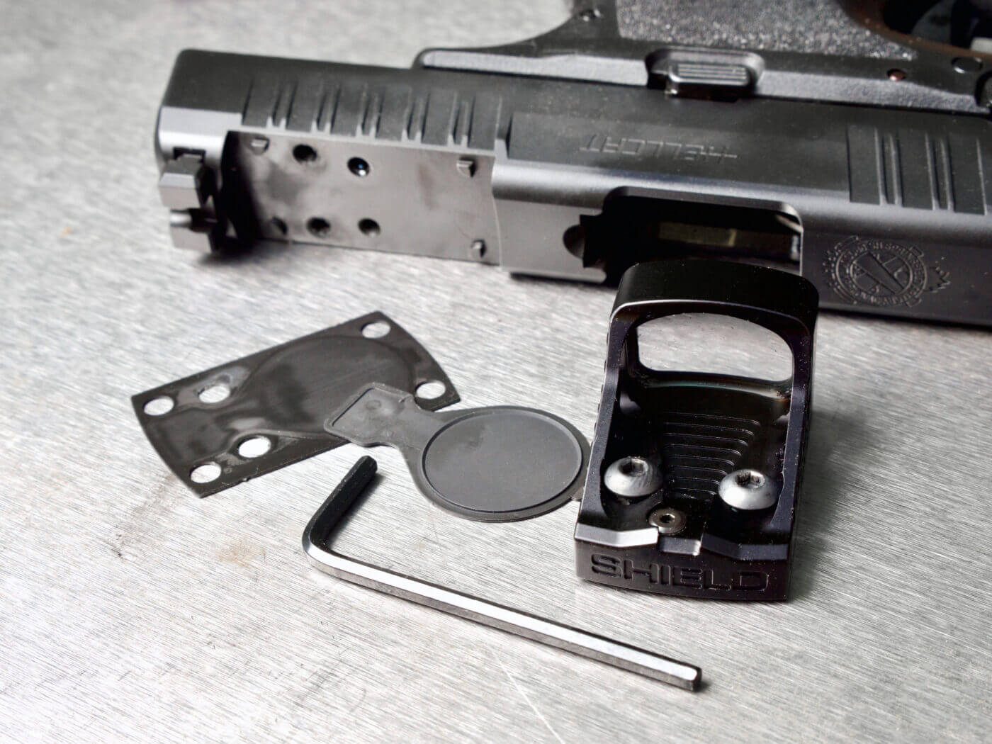 Installing the Shield RMSw onto the slide of a Hellcat OSP