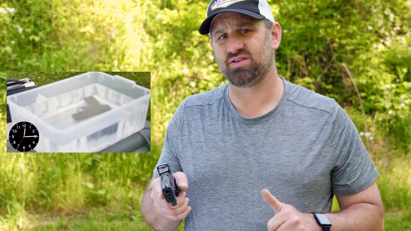 Trainer Paul Carlson demonstrating waterproof red dot