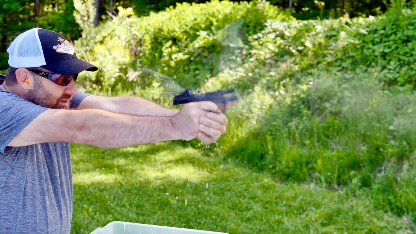 Firearms trainer Paul Carlson testing the RMSw optic