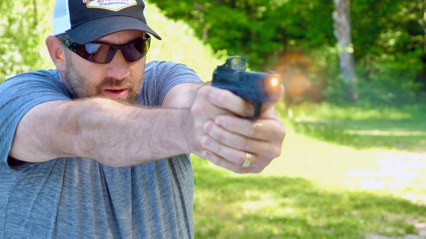 Firing the Hellcat OSP with the red dot optic