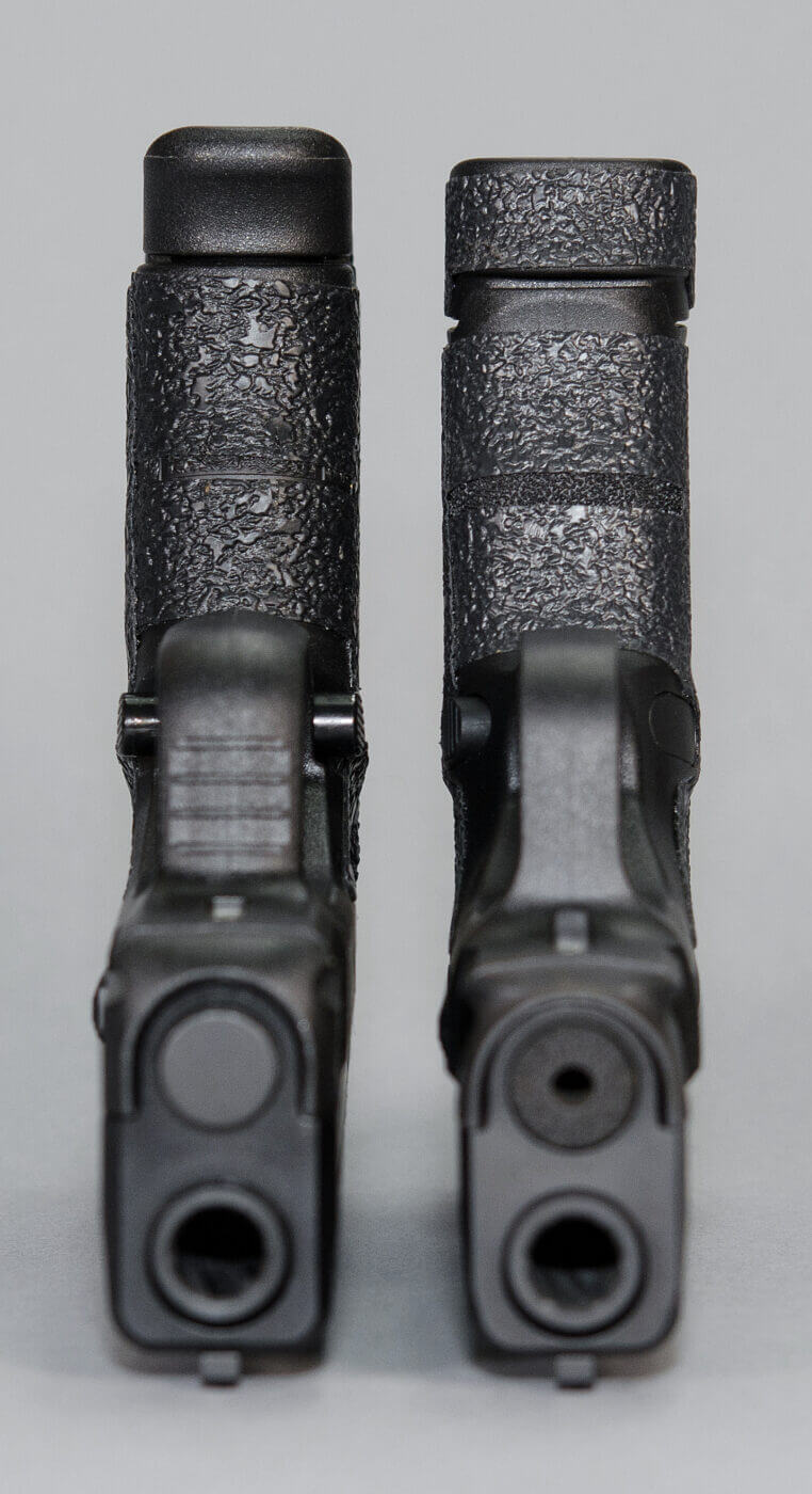 Different grip sizes of single-stack pistols