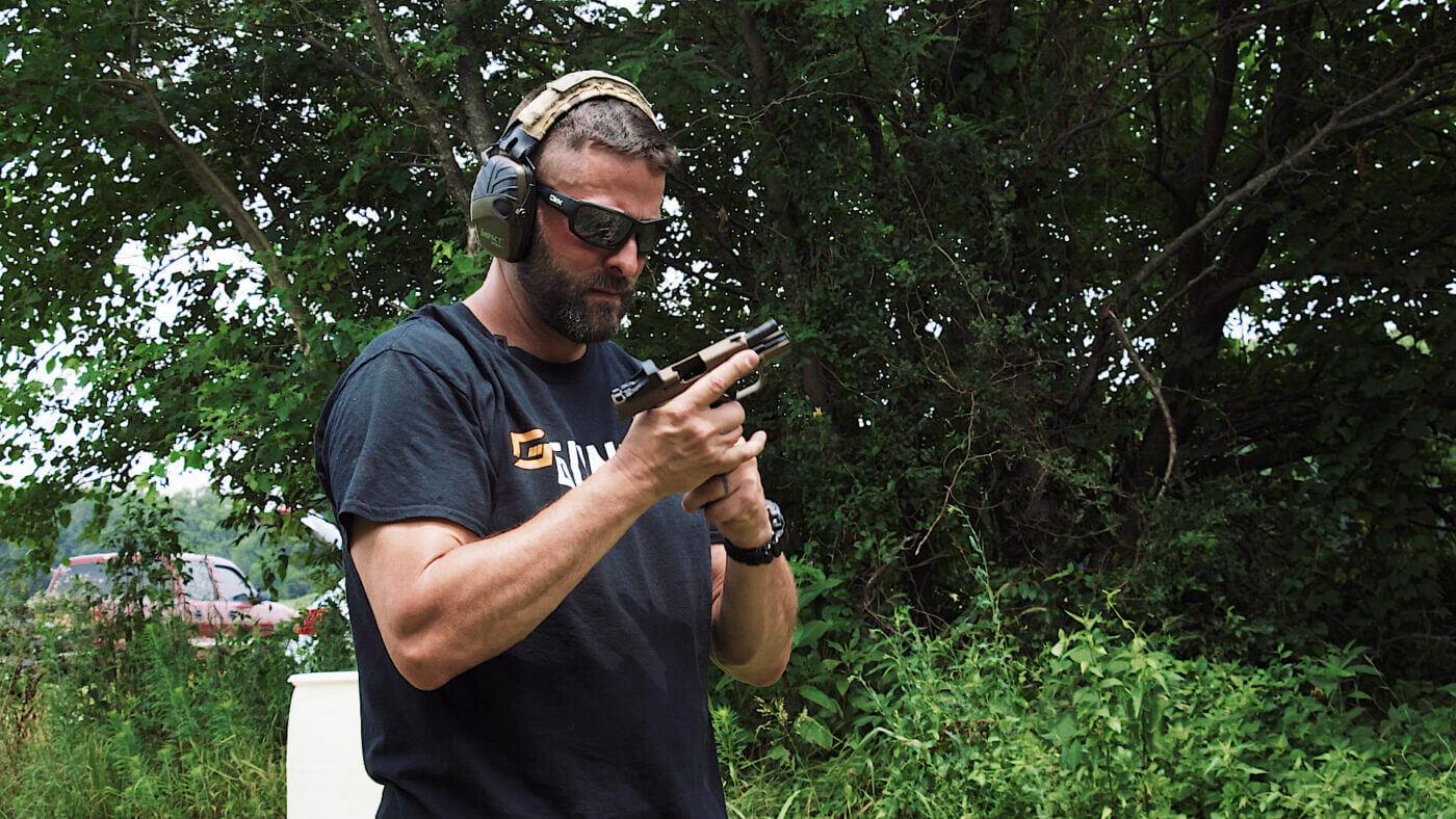 Shooting a Springfield Armory pistol