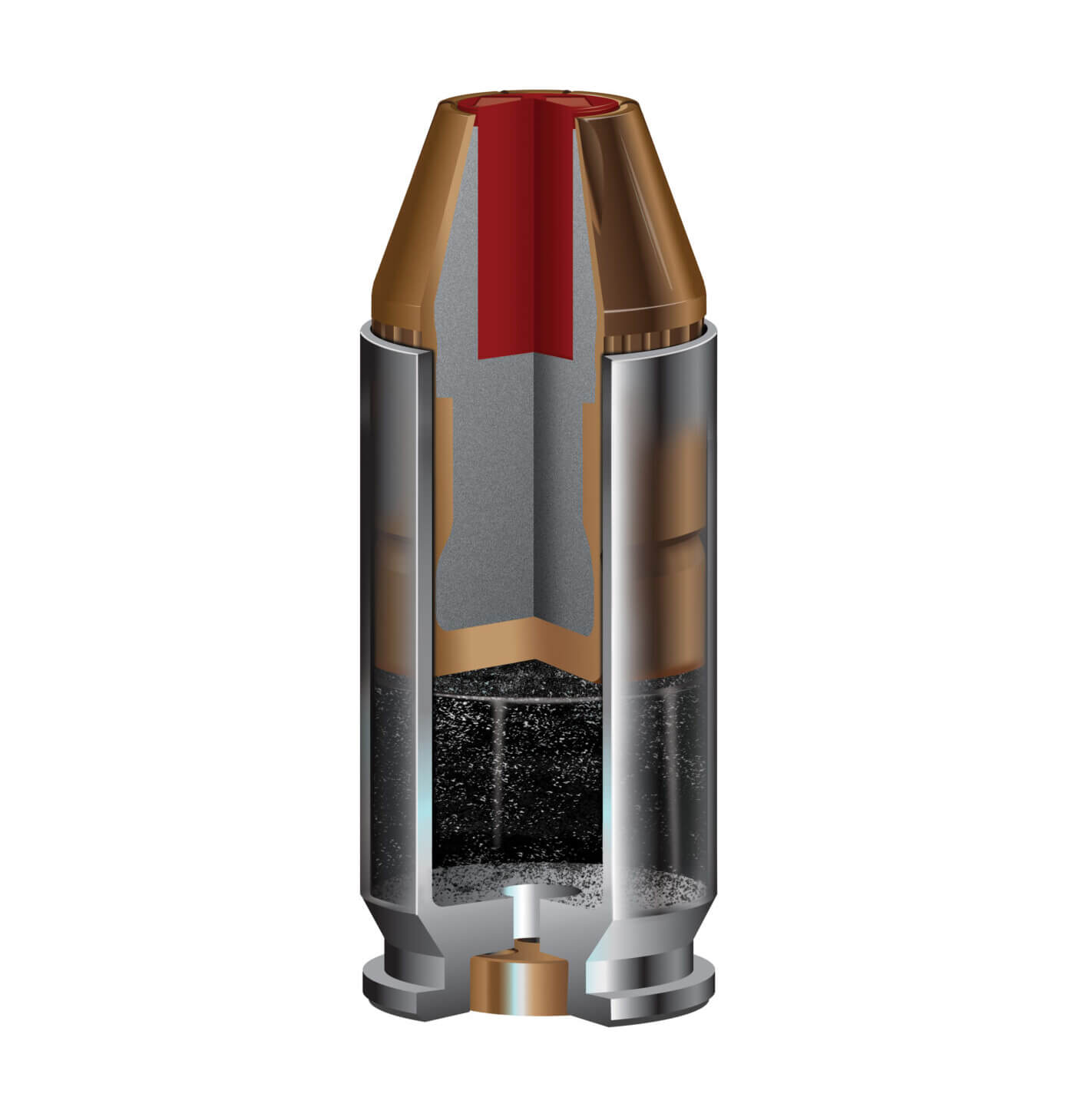 Cross section of a cartridge showing how a bullet works