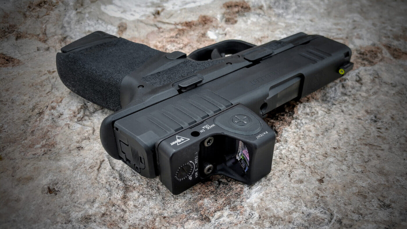 Springfield Hellcat with a Trijicon RMRcc mounted to the slide