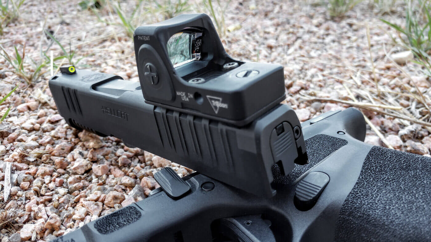 Rear view of Trijicon RMRcc micro red dot sight