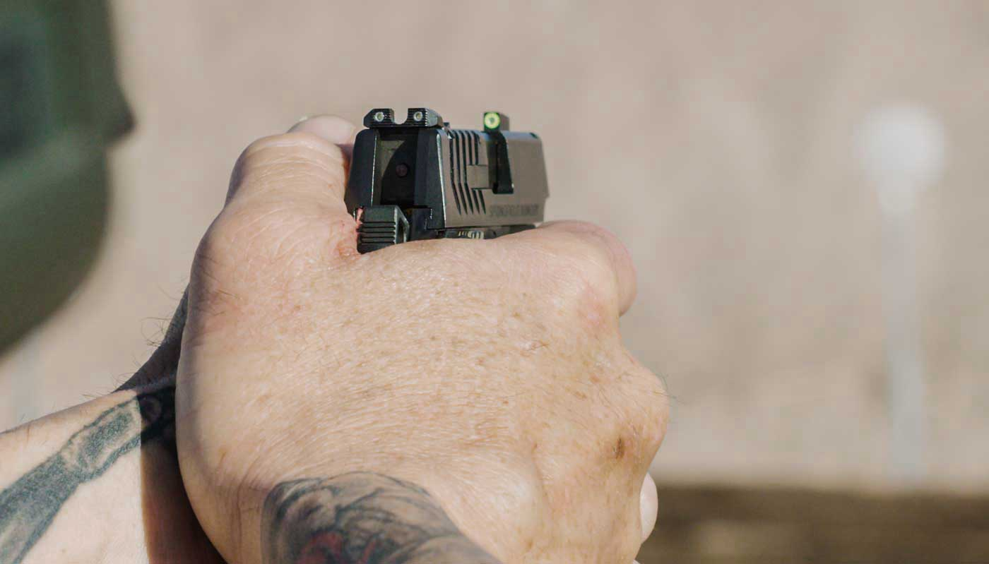 Close up of the Ameriglo Pro-Glo sights on the Springfield 911 pistol.