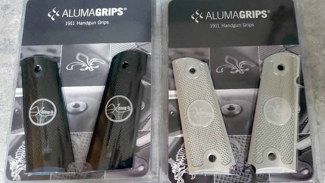 Clear aluminum and black aluminum AlumaGrips
