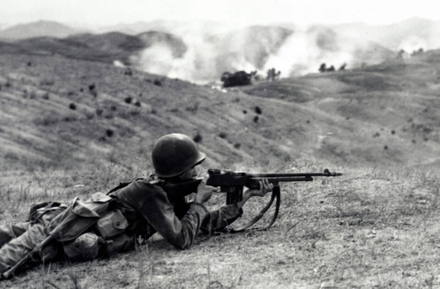 BAR shot from a hilltop in the Korean War