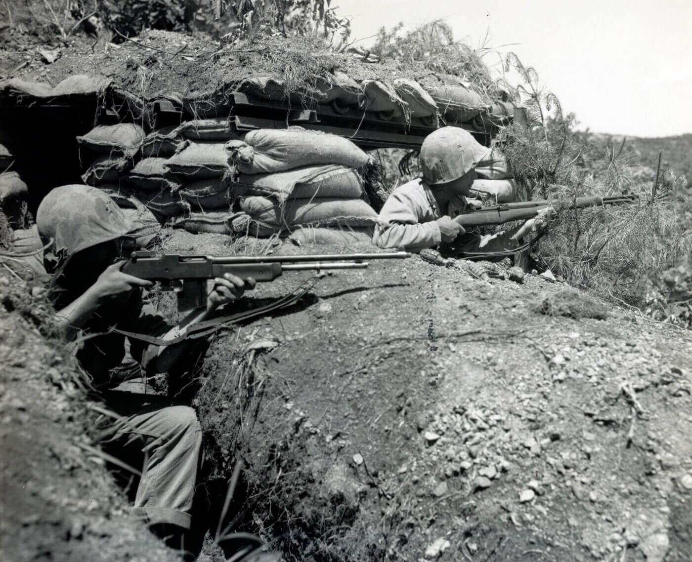 BAR gunner in a bunker in Korea