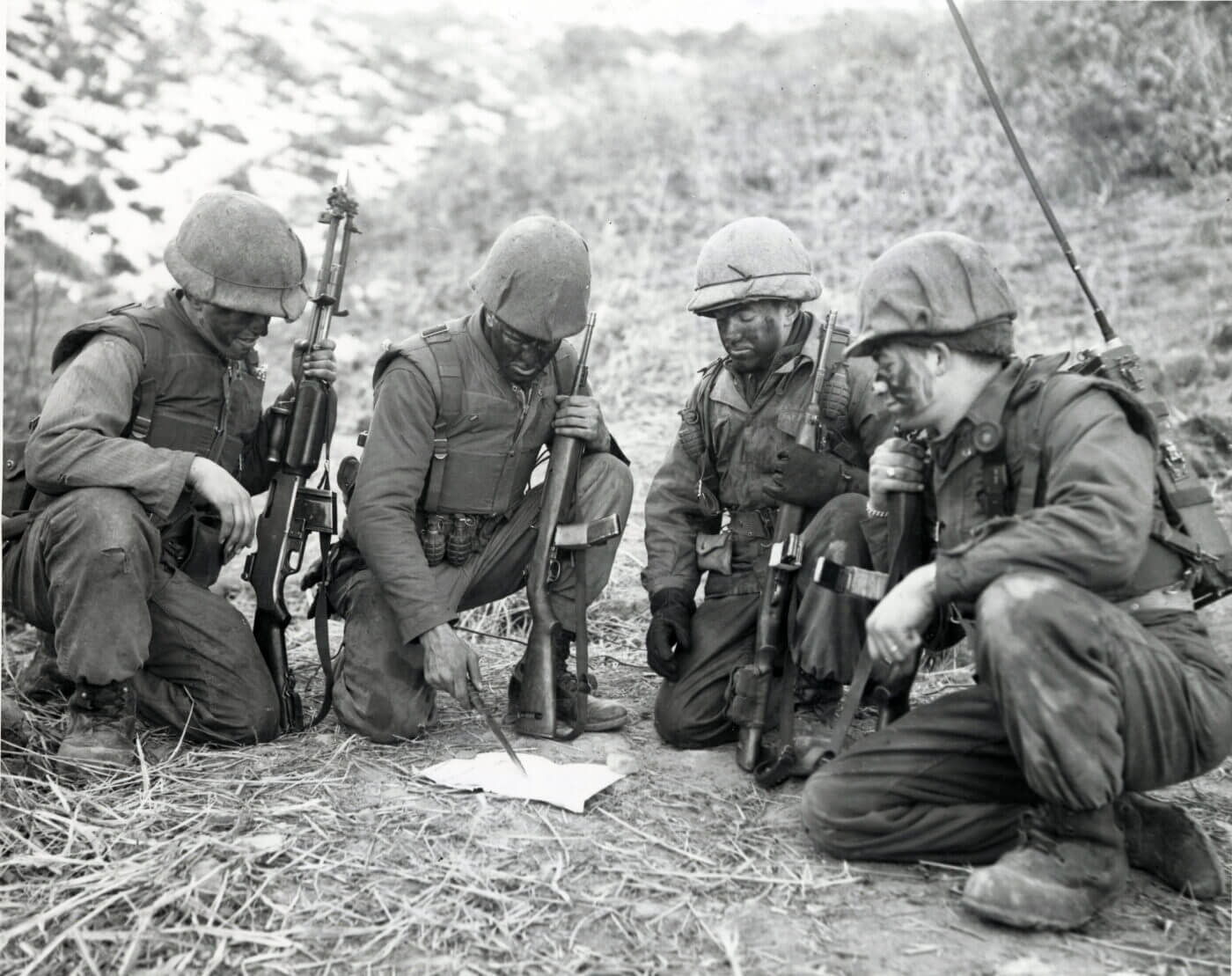 M2 Carbines in Korea, along with a BAR rifle