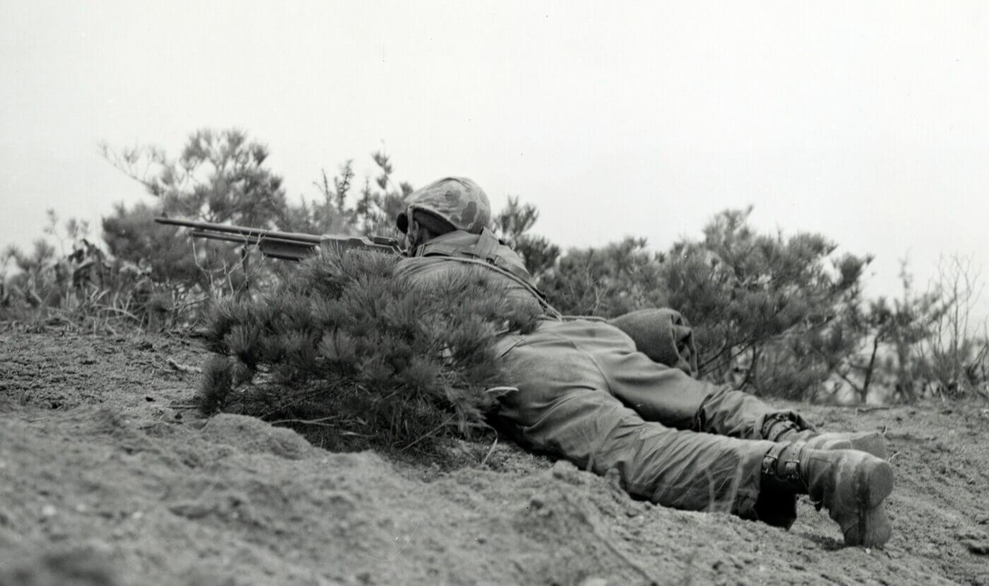 U.S. Marine in Korea with a BAR rifle
