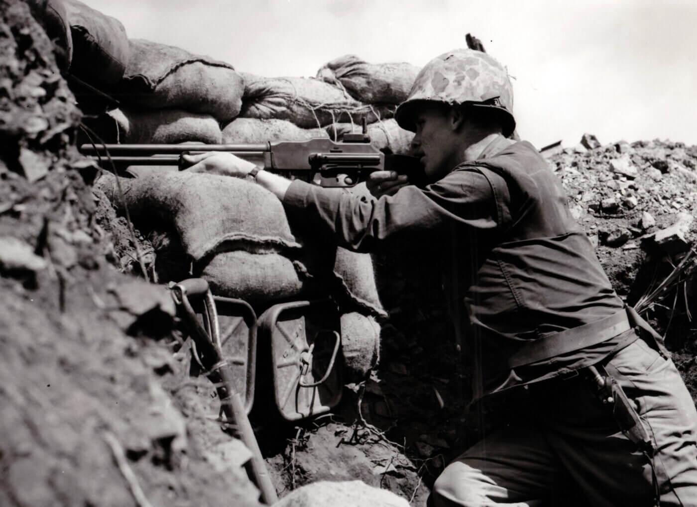 U.S. Marines in Korea at a bunker ridgeline