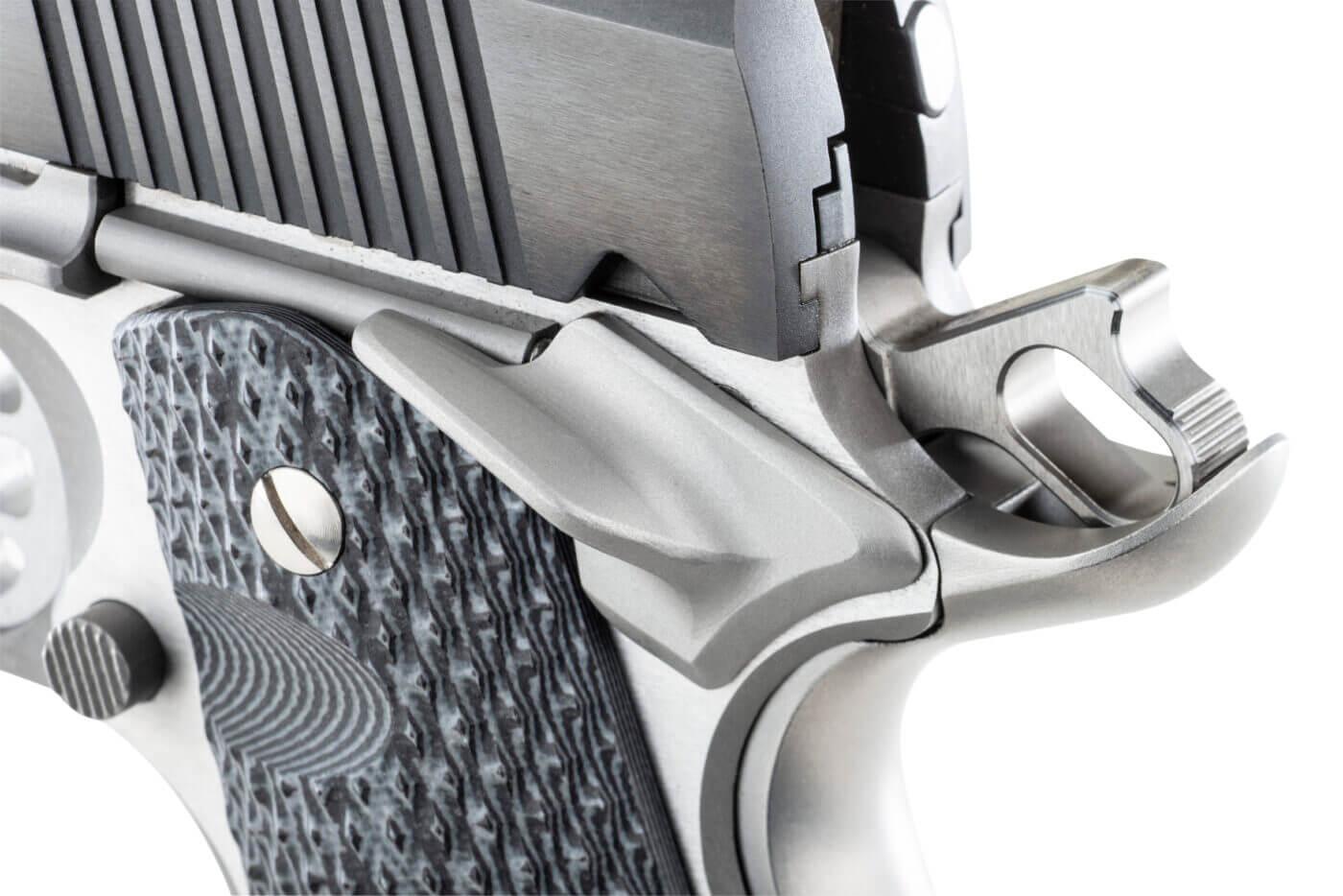Harrison Custom Extreme Service Thumb Safety on a Ronin 1911 pistol