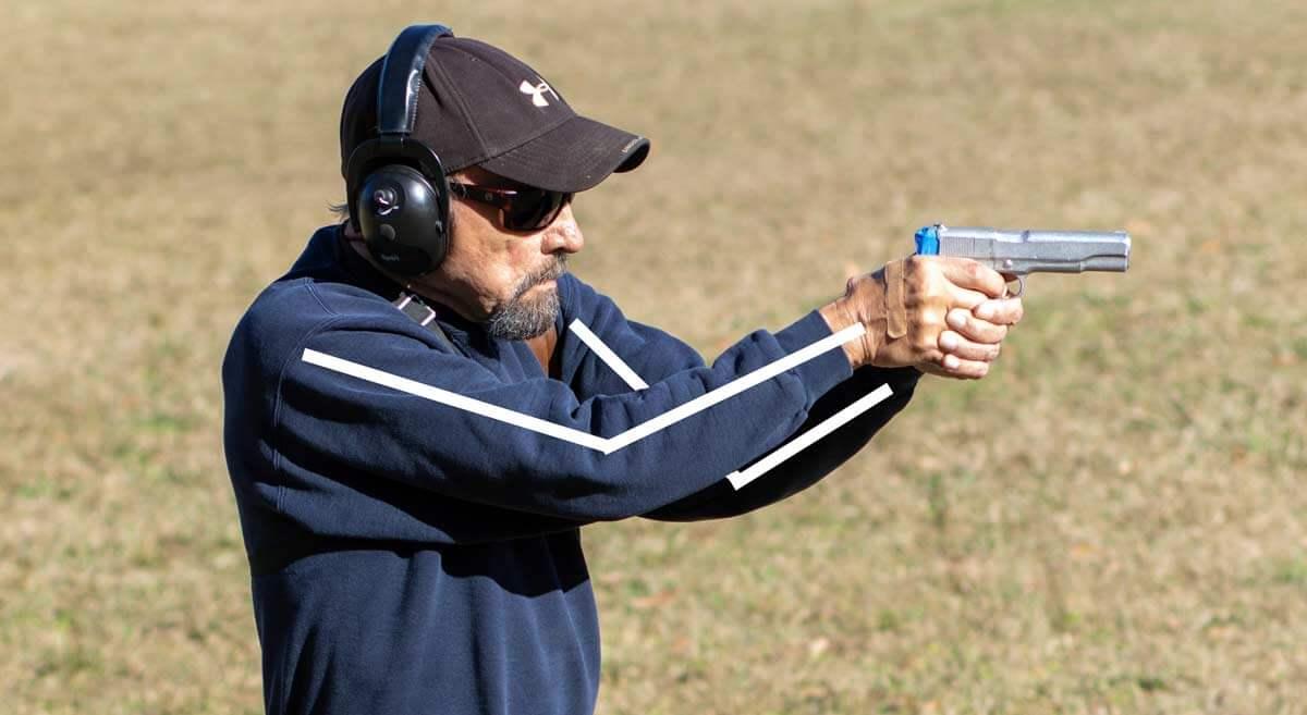Classic Weaver pistol shooting stance