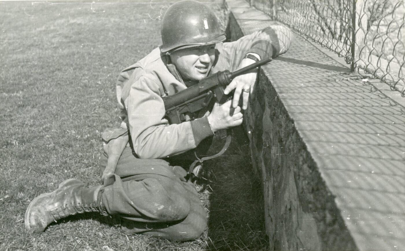 US Army lieutenant armed with a M3 SMG in Germany