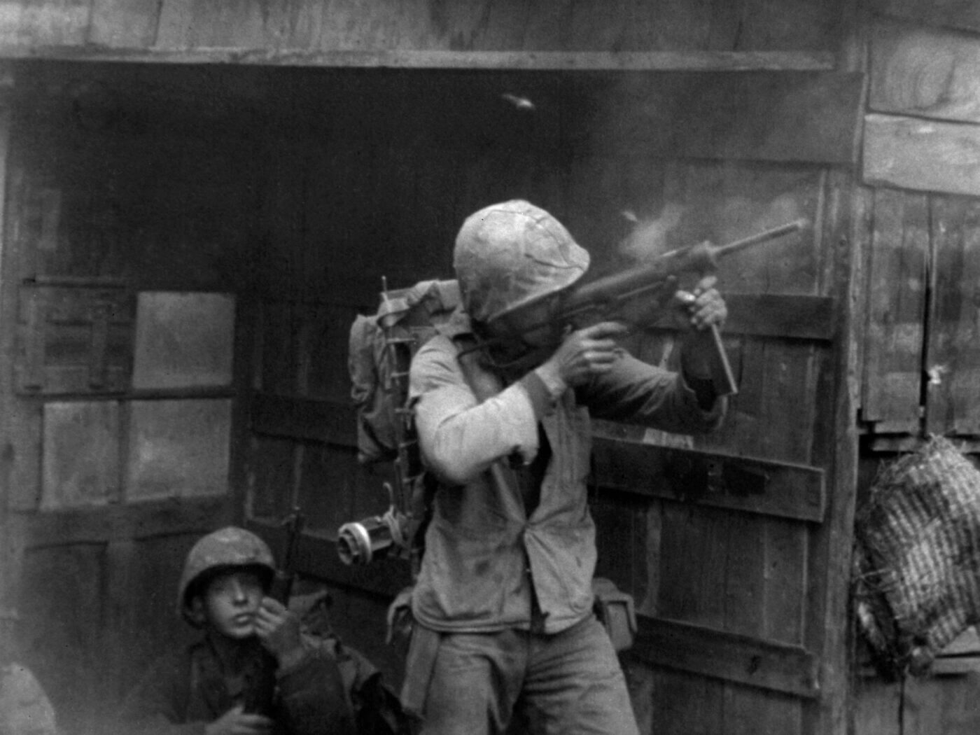 A Marine engages communist snipers during the Battle of Seoul during September 1950.
