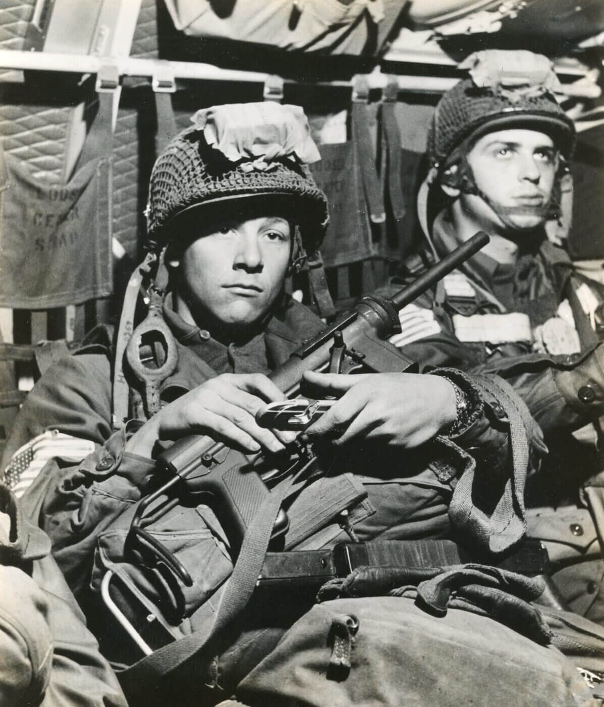 M3 submachine gun handled by paratrooper en route to Normandy, June 1944