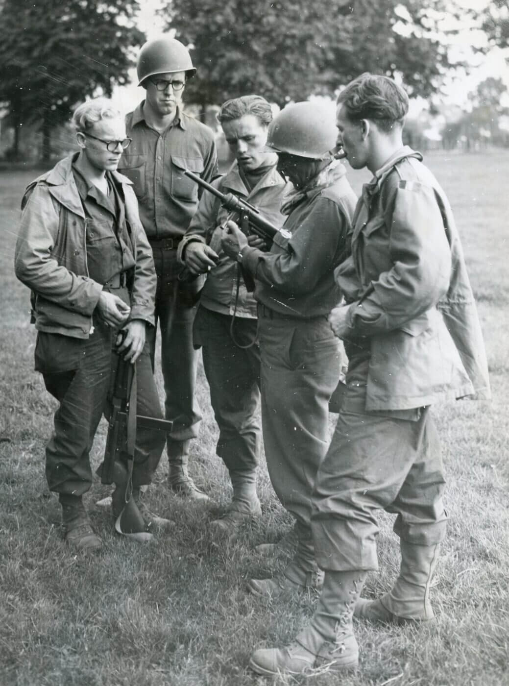 Belgian troops with the M3 Grease Gun in WWII