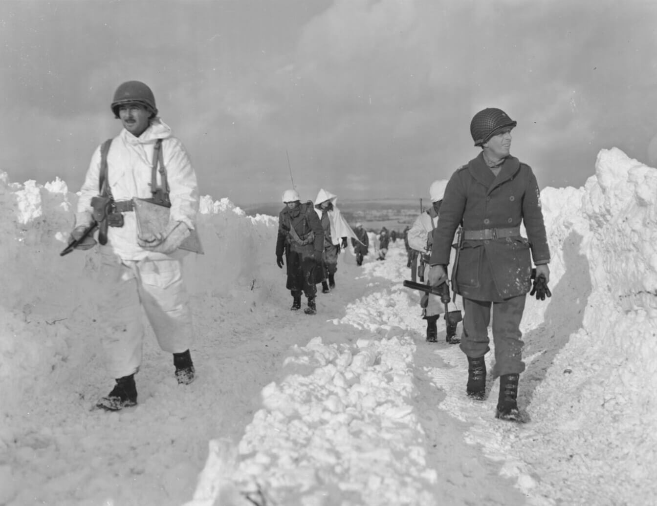 Battle of the Bulge: M3 SMG in snow outside of Bastogne