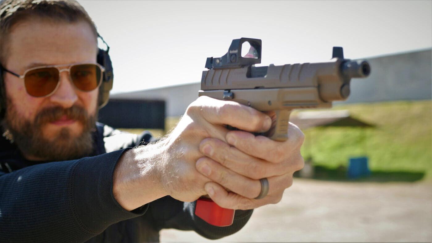 Demonstrating proper handgun grip