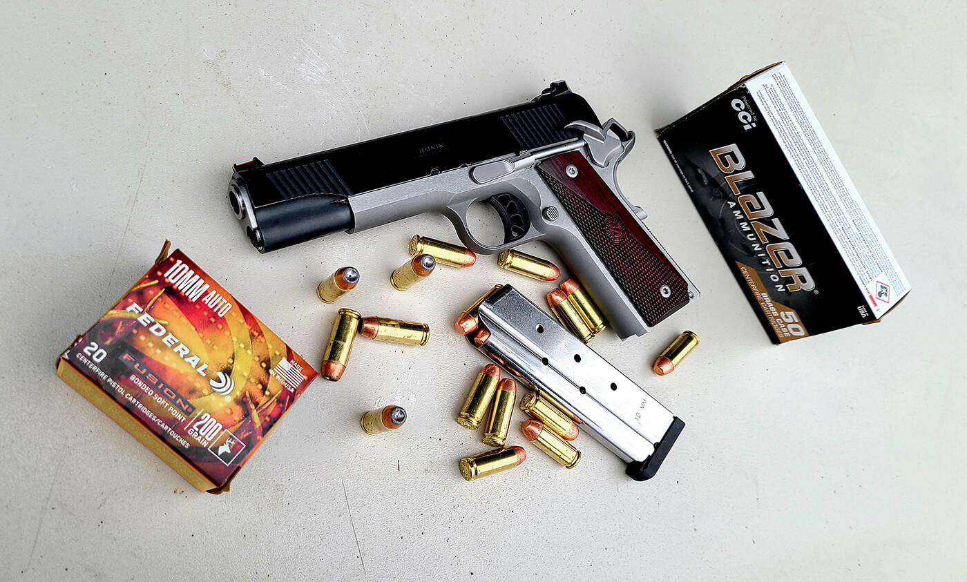 Ronin 10mm pistol with Federal ammunition