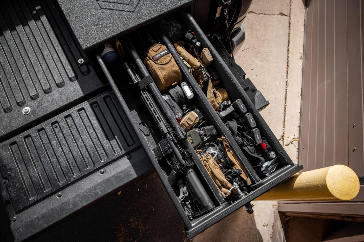 Gear stored in a half-width Truck Vault