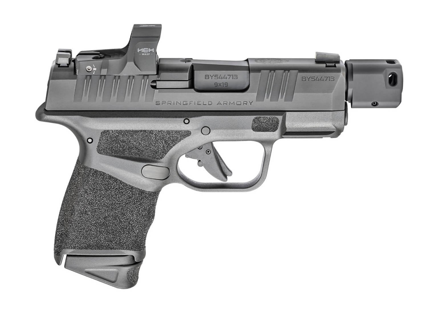 Right side view of the Springfield Armory Hellcat RDP pistols