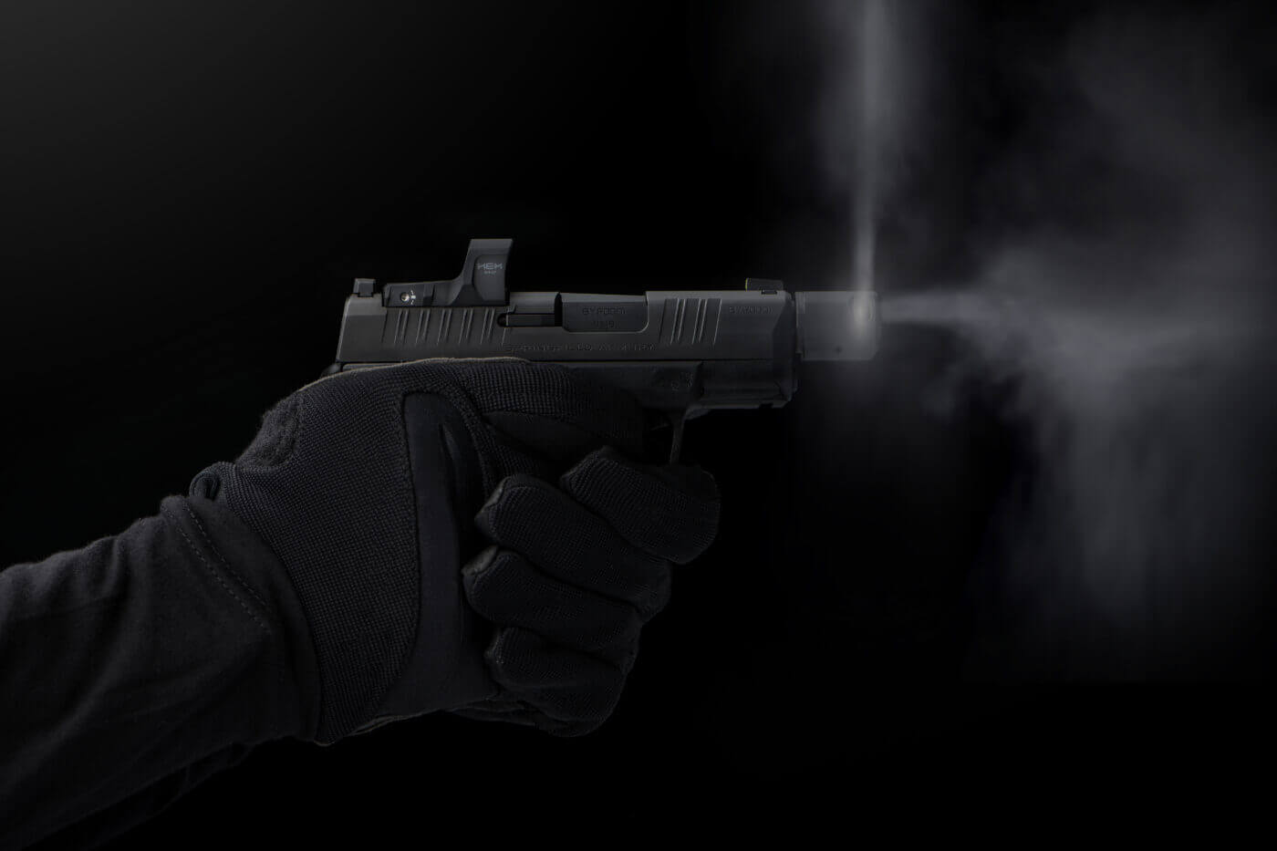 Springfield Armory Hellcat RDP compensator slow motion demonstration