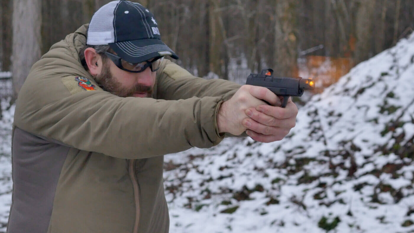 Shooting the Hellcat RDP at the range with muzzle flash visible