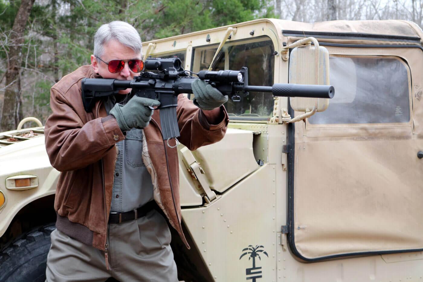 Shooting an NcSTAR VISM ECO MOD2 mounted on a Springfield SAINT rifle