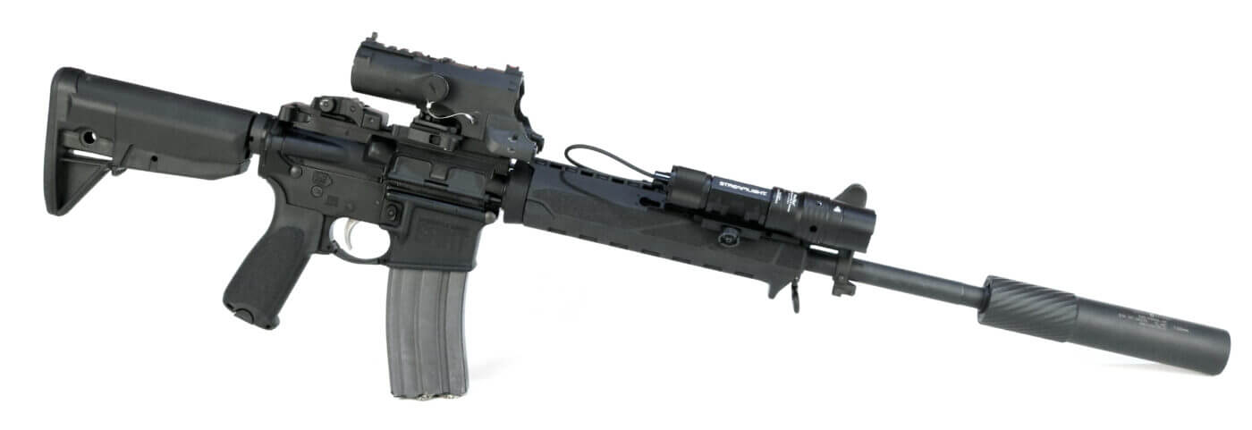 Springfield Armory SAINT rifle with NcSTAR VISM ECO MOD2 and Streamlight HL-X