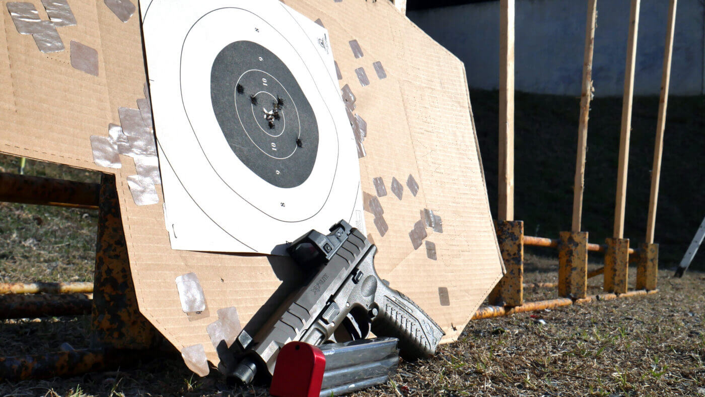 Target with Springfield Armory pistol