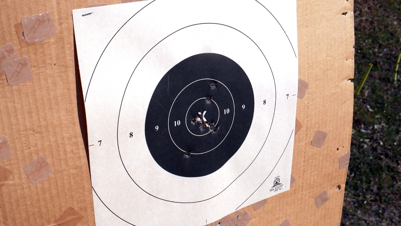 Target with holes from 9mm ammo