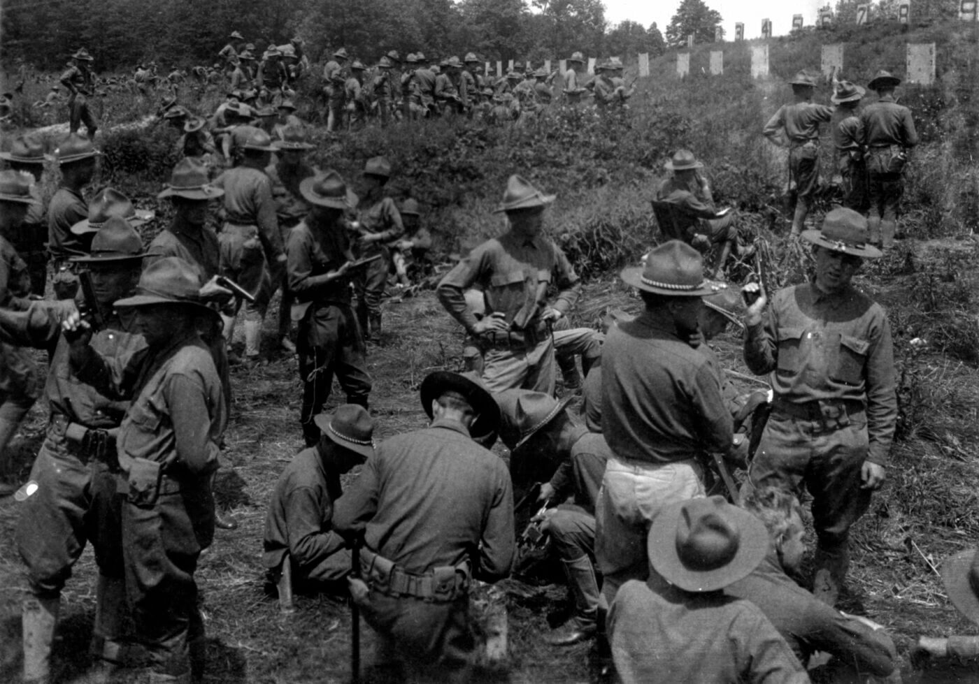 Recruit handgun training in the US Army during WWI