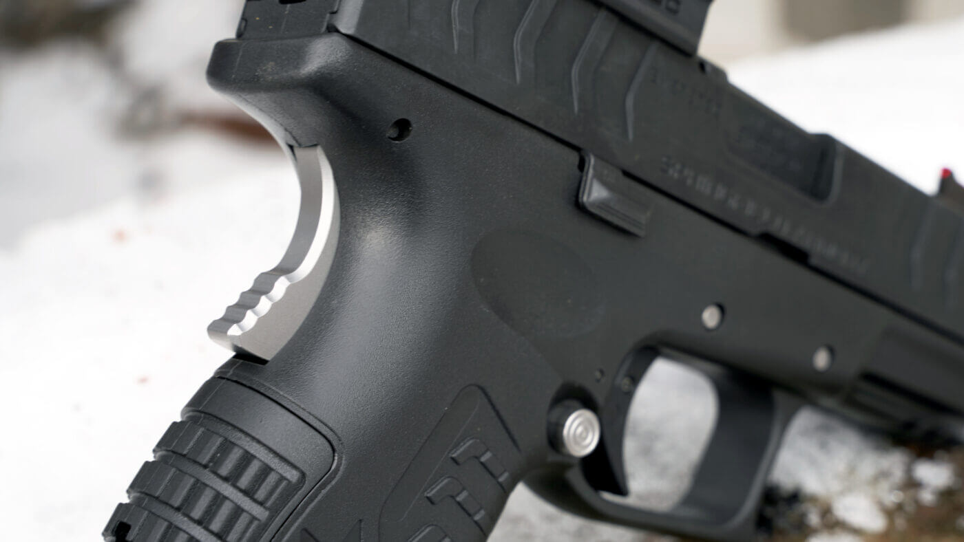 Custom stainless steel grip safety for an XD-M Elite pistol